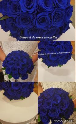 Fleuriste Valenciennes bouquet de mariée de roses éternelle bleues Hé fleur et moi Valenciennes